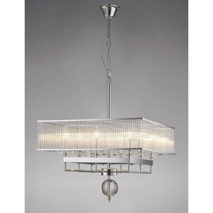 Dark Gray Diyas IL31413 Vanessa Pendant Square 8 Light Polished Chrome/Crystal