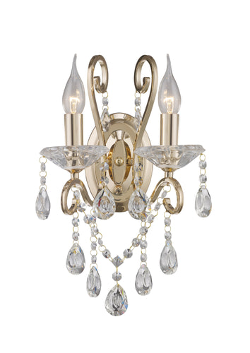 Rosy Brown Diyas IL32062 Vela Wall Lamp Switched 2 Light French Gold/Crystal
