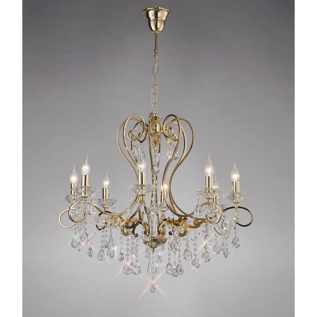 Dark Gray Diyas IL32068 Vela Pendant 8 Light French Gold/Crystal