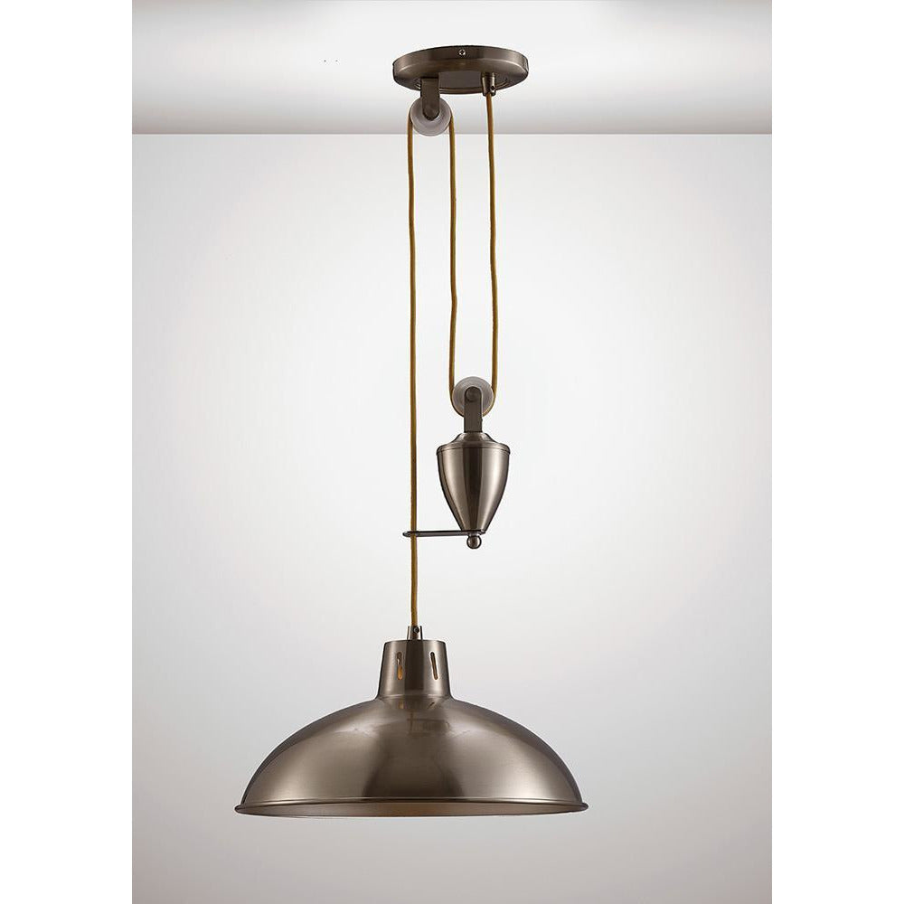 White Smoke Deco D0148 Wellington Pulley System Pendant 1 Light E27 Satin Nickel deco-d0148-wellington-pulley-system-pendant-1-light-e27-satin-nickel