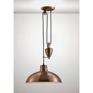 White Smoke Deco D0149 Wellington Pulley System Pendant 1 Light E27 Antique Copper