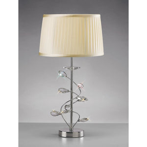 Tan Diyas IL31210/CR Willow Table Lamp With Cream Shade 1 Light Polished Chrome/Crystal