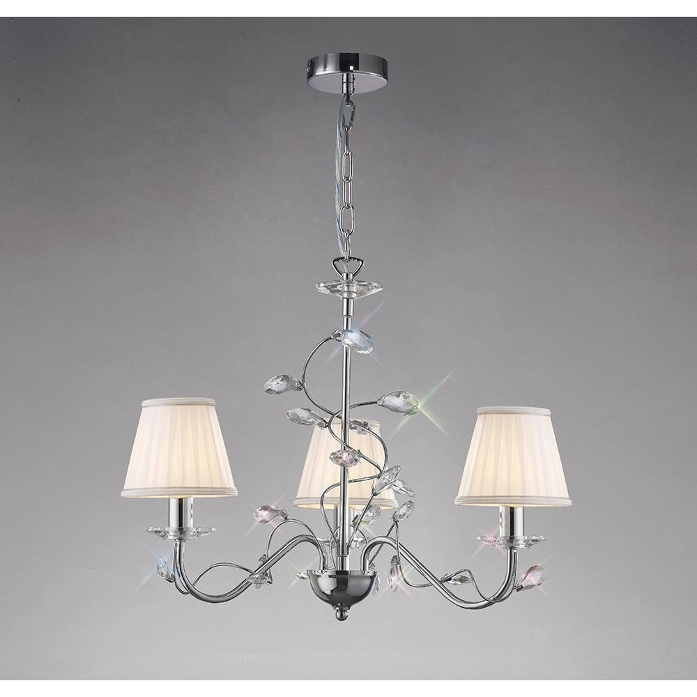 Dark Gray Diyas IL31213 Willow Pendant Without Shade 3 Light Polished Chrome/Crystal