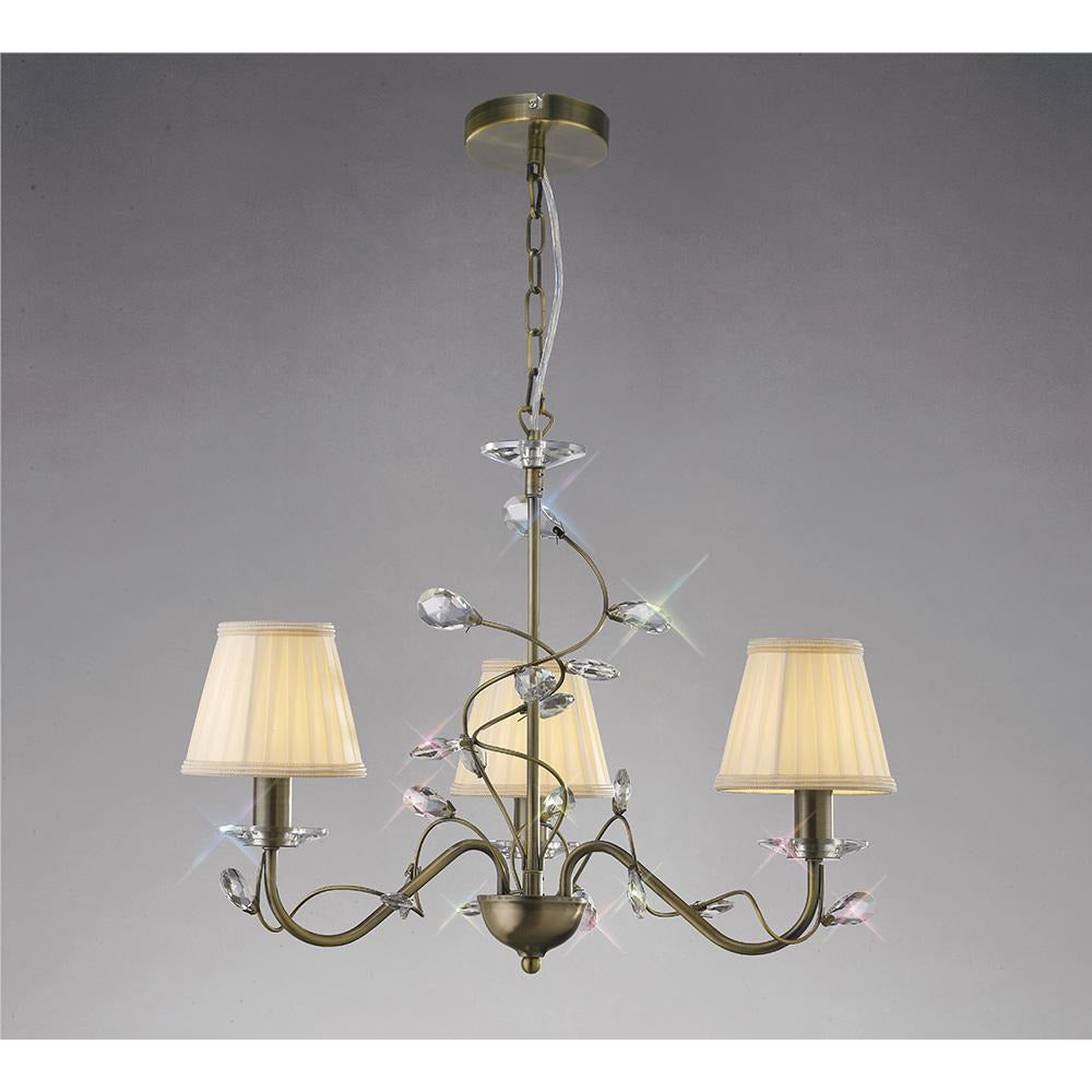Dark Gray Diyas IL31223 Willow Pendant 3 Without Shade Light Antique Brass/Crystal
