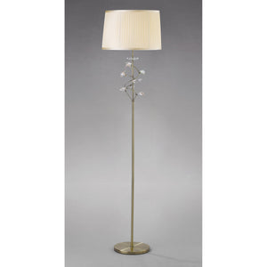 Gray Diyas IL31224 Willow Floor Lamp With Cream Shade 1 Light Antique Brass/Crystal