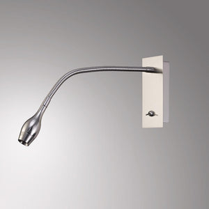 Gray Deco D0206 Winslow LED Oval Head Wall Lamp With Flexible Arm, Beam 45 Deg, Switch On Base, Satin Nickel
