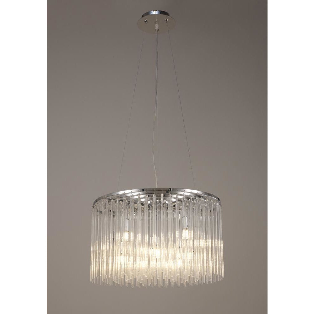 Slate Gray Diyas IL30018/G9 Zanthe Pendant Round 10 Light Polished Chrome/Clear Glass