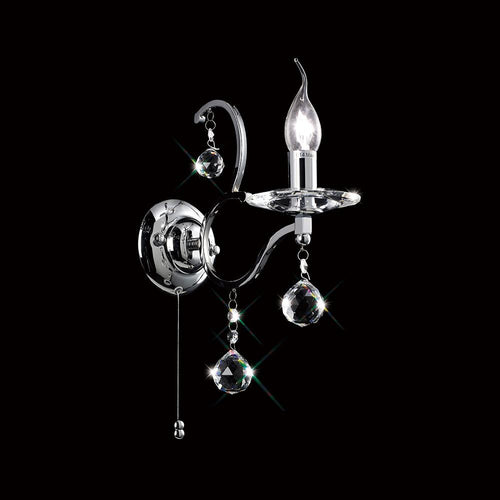 Black Diyas IL30121 Zinta Wall Lamp Switched 1 Light Polished Chrome/Crystal