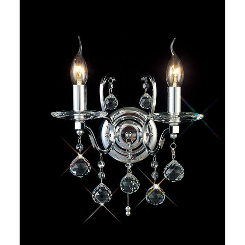 Black Diyas IL30122 Zinta Wall Lamp Switched 2 Light Switched Polished Chrome/Crystal diyas-il30122-zinta-wall-lamp-switched-2-light-switched-polished-chrome-crystal Zinta