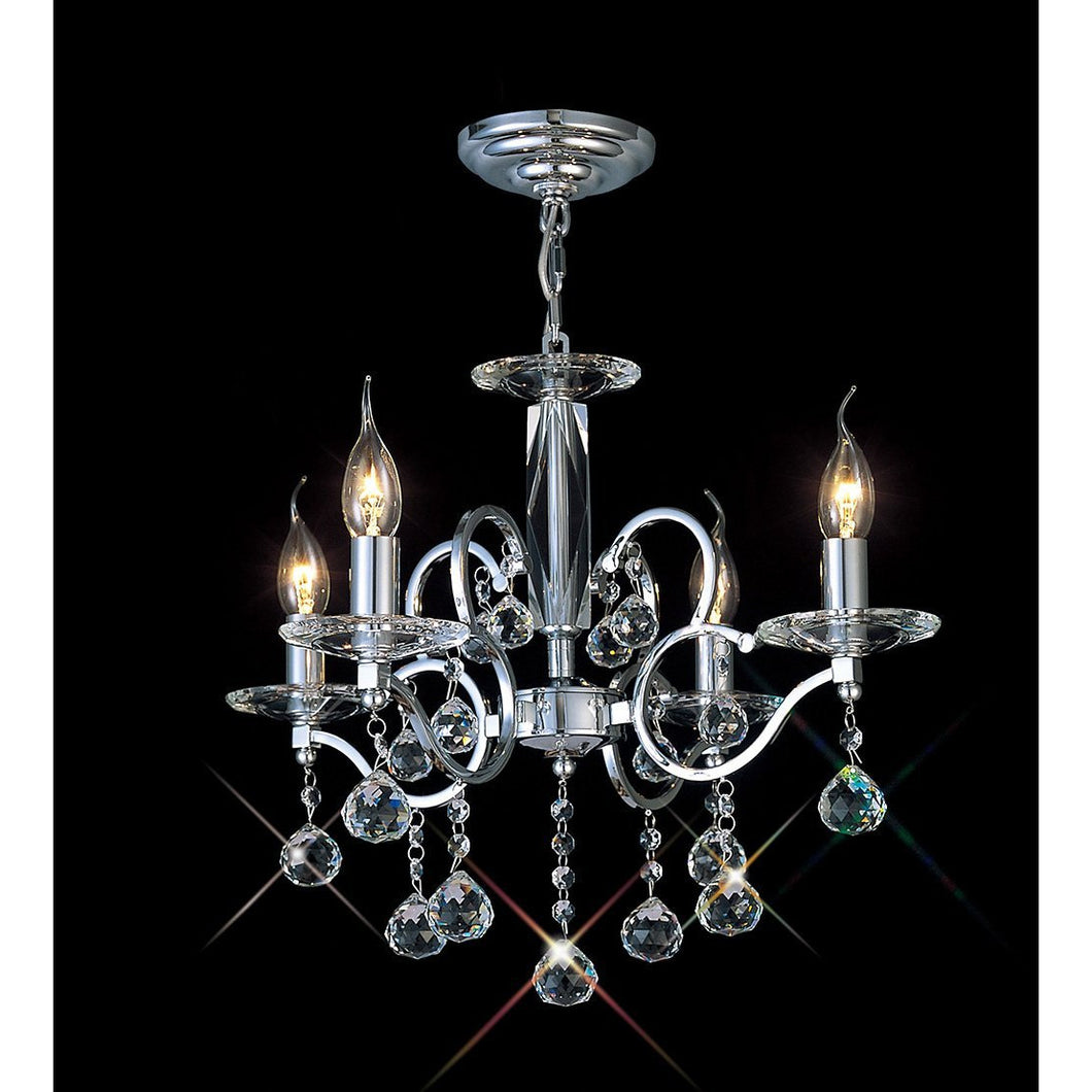 Black Diyas IL30124 Zinta Pendant 4 Light Polished Chrome/Crystal