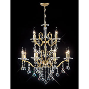 Black Diyas IL30228+4 Zinta Pendant 2 Tier 12 Light French Gold/Crystal (ITEM REQUIRES ASSEMBLY)