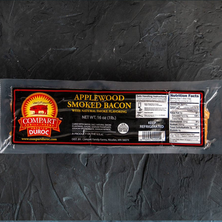 "Applewood Smoked Bacon 1/2"" Thick, 1lb, Duroc Pork"