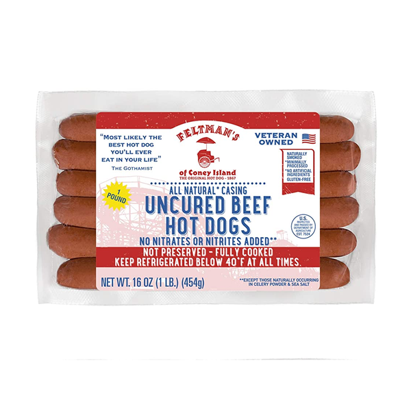 Feltman's Uncured Natural Casing Hot Dogs, 12.8oz, All Beef
