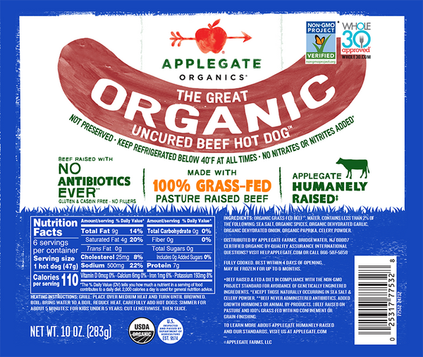 Applegate Organic Beef Hot Dog, 10oz