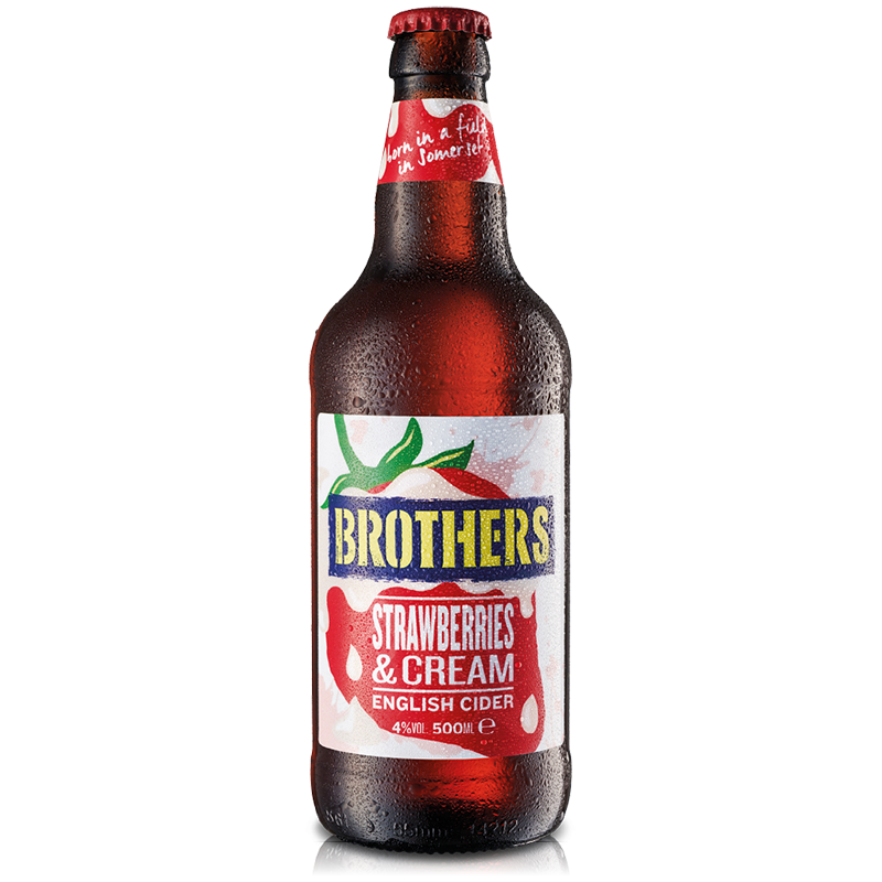 Brothers Strawberries & Cream Cider 12 x 500ml case, Alcoholic Beverages by The Drink Market