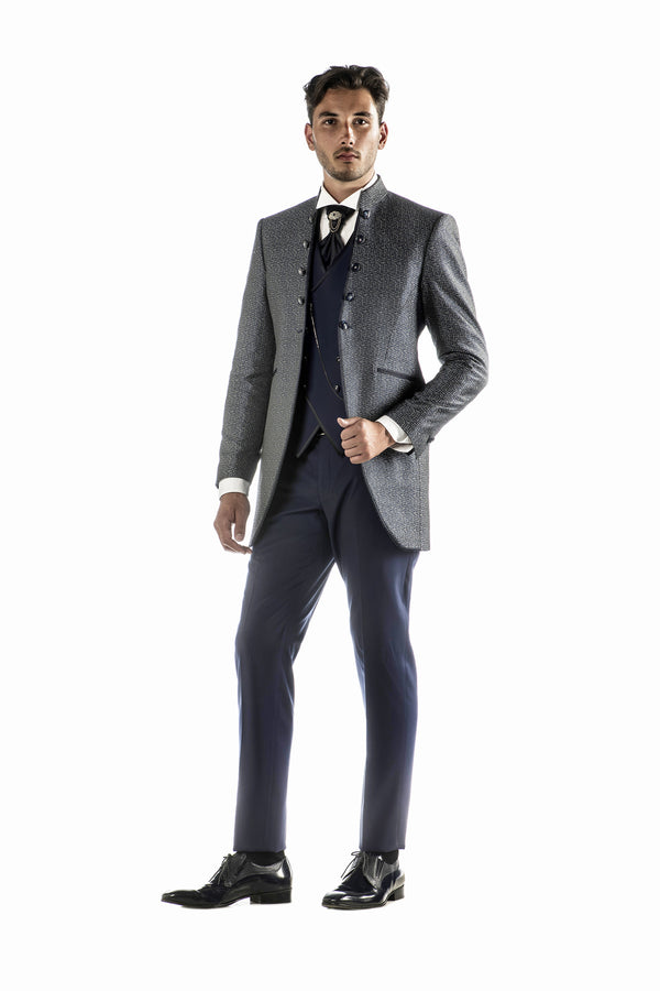 Blue Tuxedo with Damask Mandarin Collar