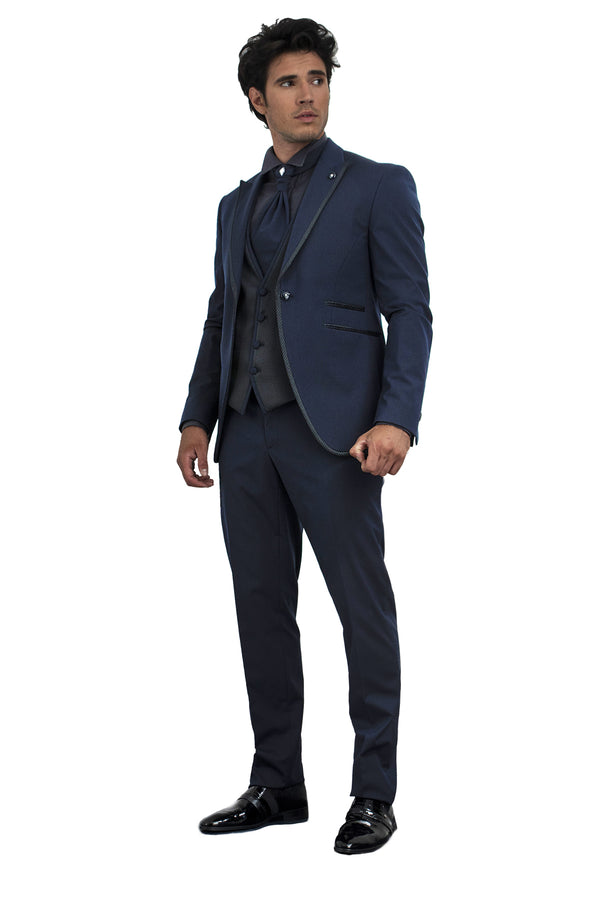 """Estia"" Night Blue Tuxedo with Piping"