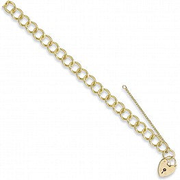"9ct Yellow Gold Curb & Padlock 7"" Charm Bracelet (20g)"