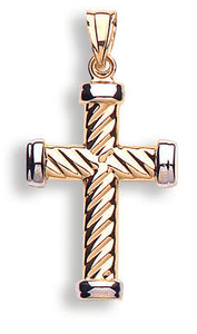 9ct Yellow & White Gold Ribbed Cross
