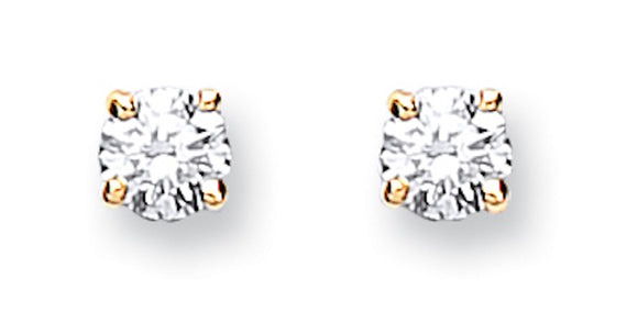 9ct Yellow Gold 0.25ct Claw Set Diamond Stud Earrings