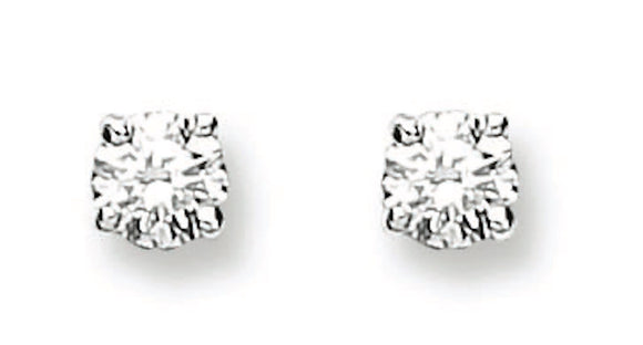 18ct White Gold 0.25ct Claw Set Diamond Stud Earrings