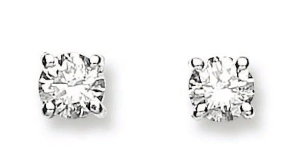 18ct White Gold 0.50ct Claw Set Diamond Stud Earrings
