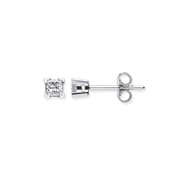 18ct White Gold 0.30ct Claw Set Princess Cut Diamond Stud Earrings