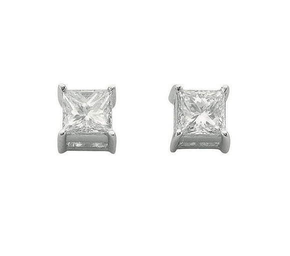 18ct White Gold 0.50ct Claw Set H/VS Princess Cut Diamond Stud