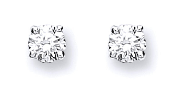 9ct White Gold 0.15ct Claw Set Diamond Stud Earrings