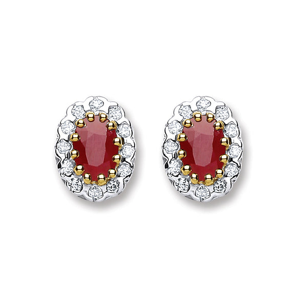 9ct Yellow Gold 0.20ct Diamond & 1.20ct Ruby Stud Earrings