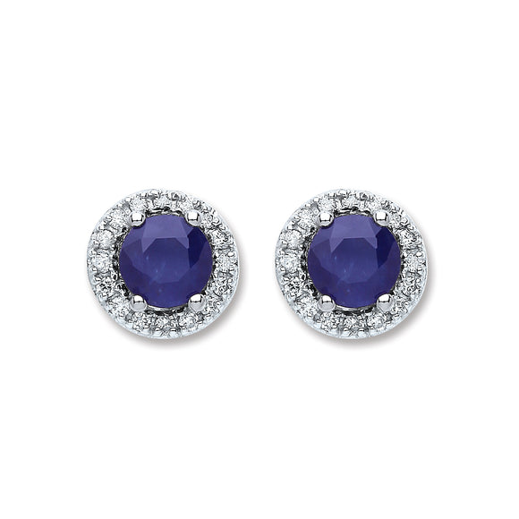9ct White Gold 0.15ct Diamond & 1.20ct 5mm Sapphire Stud Earrings