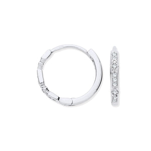 9ct White Gold Round 0.08ct Diamond Hoops
