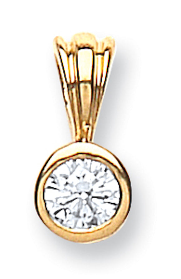 18ct Yellow Gold 0.15ct Rubover Set Diamond Pendant