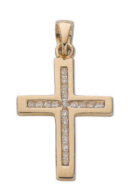 9ct Yellow Gold 0.15ct Diamond Cross