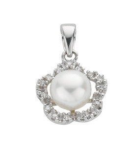 9ct White Gold Freshwater Pearl & 0.10ct Diamond Pendant