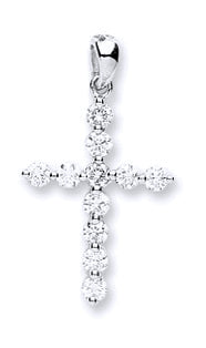 18ct White Gold 0.30ct Diamond Cross