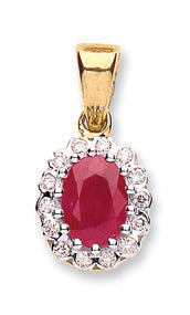 9ct Yellow Gold 0.90ct Ruby & 0.12ct Diamond Pendant