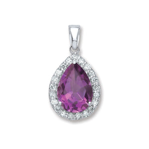 9ct White Gold 1.75ct Amethyst & 0.20ct Diamond Pendant
