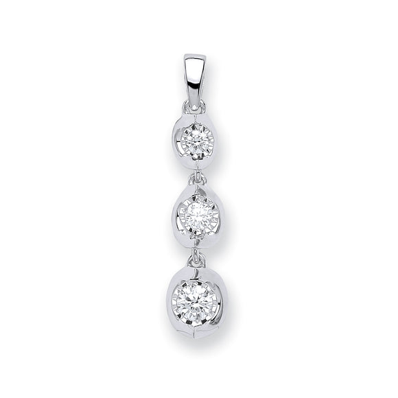 9ct White Gold 0.23ct Diamond Trilogy Drop Pendant