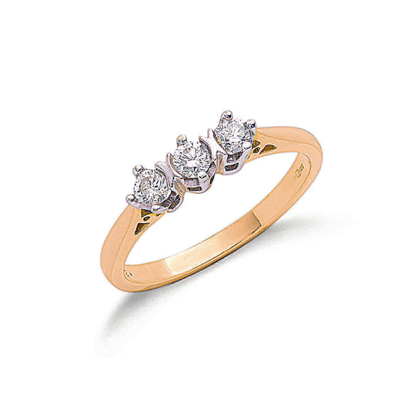 9ct Yellow Gold 0.33ct Diamond Trilogy Ring