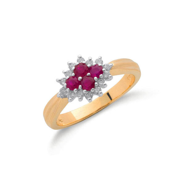 9ct Yellow Gold 0.21ct Diamond & 0.45ct Ruby Cluster Ring