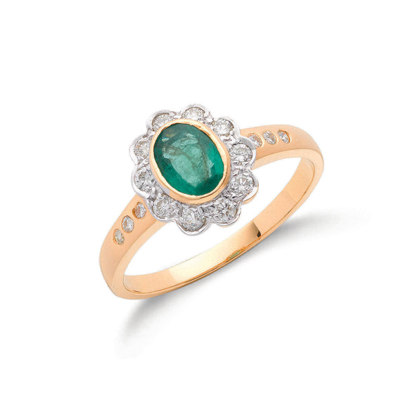 18ct Yellow Gold 0.30ct Diamond & 0.75ct Emerald Cluster Ring