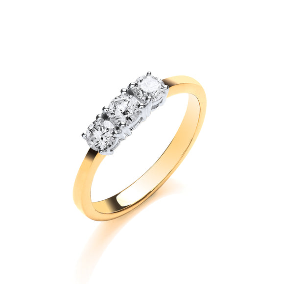 18ct Yellow Gold 0.50ct Diamond Trilogy Ring