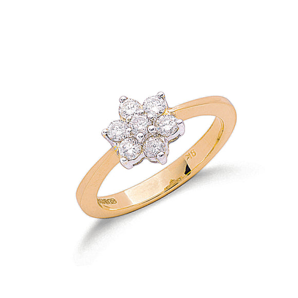 9ct Yellow Gold 0.50ct Diamond Flower Cluster Ring