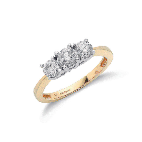 18ct Yellow Gold 1.00ct Diamond Trilogy Ring