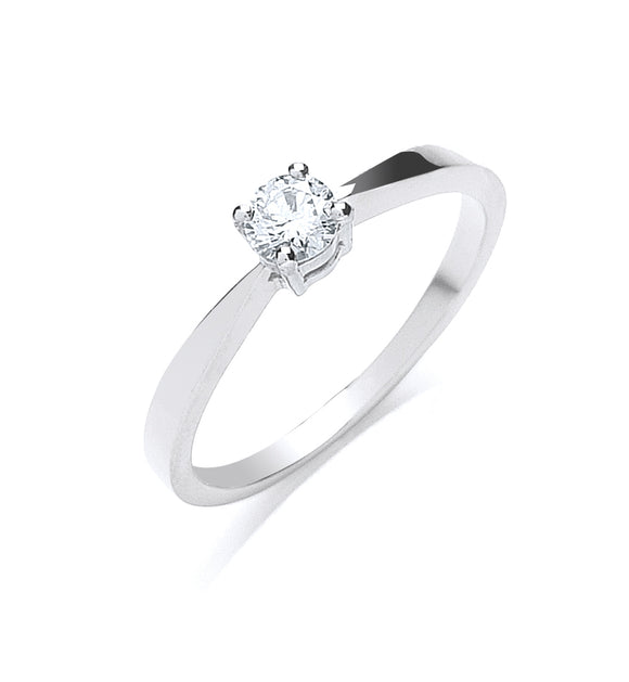 Platinum 0.25ct G/H-Si Diamond Ring