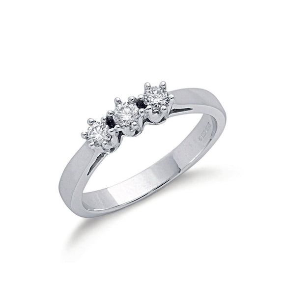 9ct White Gold 0.30ct Diamond Trilogy Ring