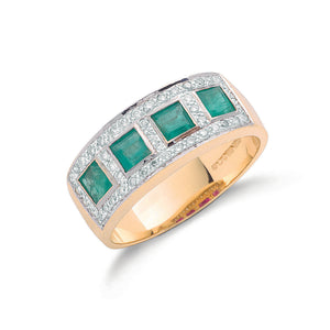9ct Yellow Gold 0.22ct Diamond & 0.40ct Emerald Eternity Ring