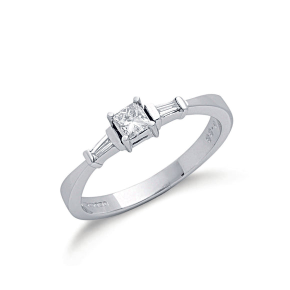 9ct White Gold 0.33ct Princess & Baguette Cut Diamond Ring