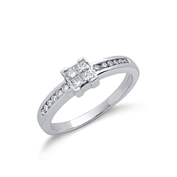9ct White Gold 0.33ct Princess Cut Diamond Ring